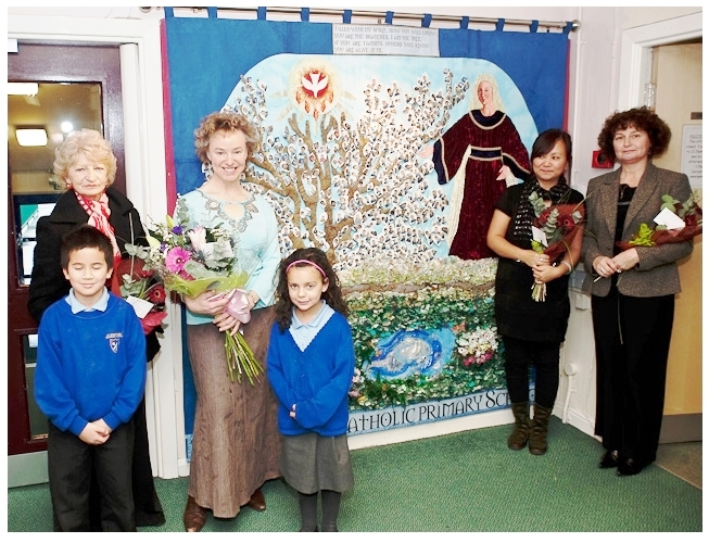 wall hanging depicting st winefride created by local artists including Ping Kelly and Christine Hughes